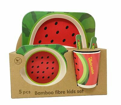 Kids Eco Friendly Bamboo Fibre Tableware Lunch Dinner Set Dining  Watermelon