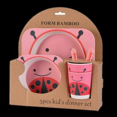 Kids Eco Friendly Bamboo Fibre Tableware Lunch Dinner Set Dining Ladby bug
