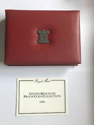 1988 Royal Mint Deluxe Proof Coin Set in Red Leather Case ***NO RESERVE***