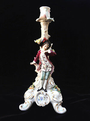 "Antique Sitzendorf Figural Candleholder - c.1918 - 13"" - Germany"