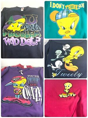 Lot Of (6) Vintage Warner Bros Tweety Bird Swearshirts- Size Medium - Show Wear