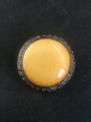Vintage Antique Arts & Crafts Celtic Pewter Brooch with Yellow Ruskin Cabochon