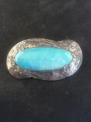 Antique Arts & Crafts Pewter Brooch Turquoise Ruskin High fired Cabochon
