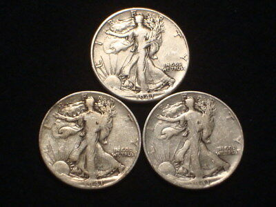 1941-P, 1941-D, 1941-S  Walking Liberty Half Dollars Lot Of 3
