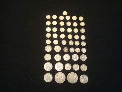 $10 Face Value Lot Of 90% Silver U.s. Coins Mixed Variety L9