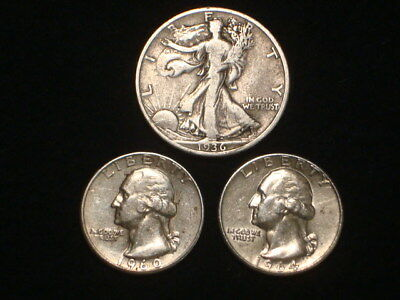 $1.00 Face Value 90% Silver Lot Of 3  1-Walker Half And 2-Washington Quarters