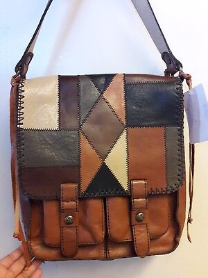 Patricia Nash Zigzag Patchwork Armeno Messenger Bag Italian Leather NWT