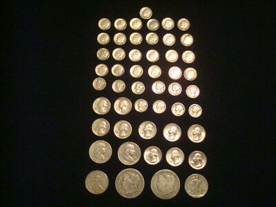 $10 Face Value Lot Of 90% Silver U.s. Coins Mixed Variety L2