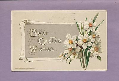 Lovely DAFFODILS On Beautiful JOHN WINSCH Vintage 1914 EASTER Postcard