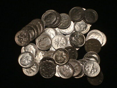Roll Roosevelt Dimes 90% Silver $5 Face Value Vf-Bu 50 Coins L2