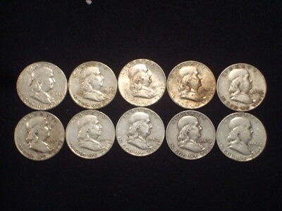 Franklin Half Dollars Lot Of 10 Coins 1/2 Roll $5 Face Value  90% Silver L4