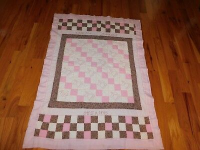 Angel Baby Quilt Hand Embroidered All Hand Quilted Pink and Brown 4 Patch