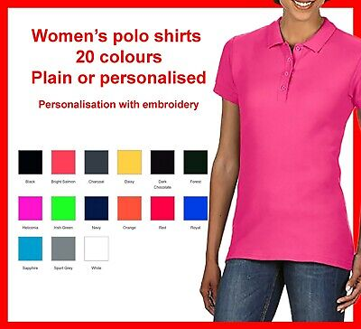 Personalised women's polo shirts Custom Embroidered with your text name or logo