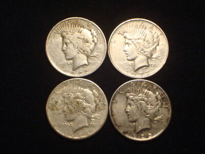 Peace Dollars 1922P, 1923D, 1924S, 1925P  Lot Of 4  Vf-Xf+ Circulated  L1