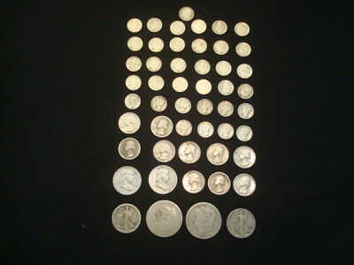 $10 Face Value Lot Of 90% Silver U.s. Coins Mixed Variety L12