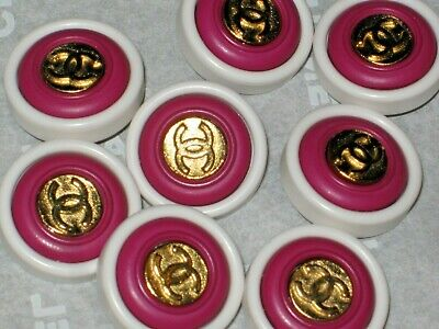Chanel  8 Gold  Metal Cc Logo Front Dark Pink  White Resin  Buttons 14 Mm Lot 8