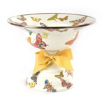 MacKenzie-Childs Butterfly Garden Large Compote ~WHITE~SOLD OUT~NEW #89221-0025