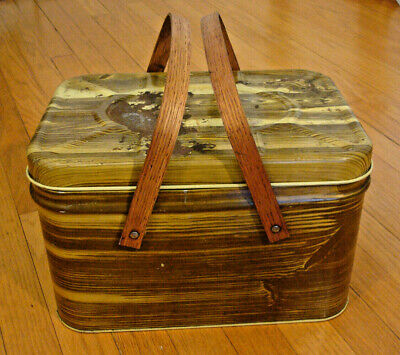 Vintage Tin Litho Picnic Basket Wood Handles Hinge Lid Faux Wood Brown Yellow