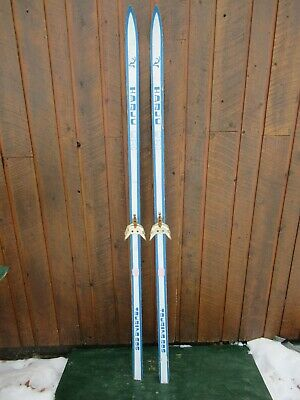 """VINTAGE Interesting Wooden 73"""" Skis Blue White Color Finish Great for Decoration"""
