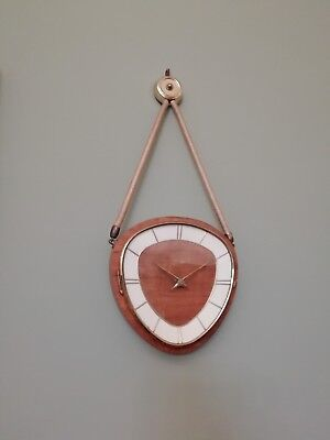 Kienzle 1950s Wood Brass & Rope German Movement Wall Clock