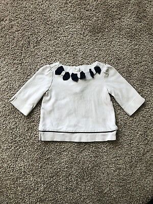Janie And Jack White And Navy Bow Top 18-24 Months EUC