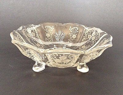 Martinsville Viking Glass - Crystal Footed Bowl With Frosted Etched Designs USA