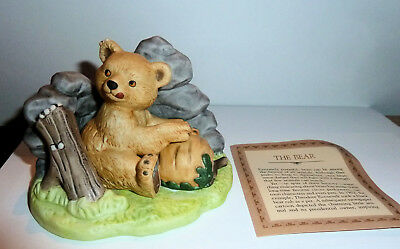 Vintage Woodland Surprises Bear Jacqueline B Smith Franklin Porcelain 1984