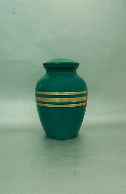 Cremation Urn Green with Gold Bands Pet/Human