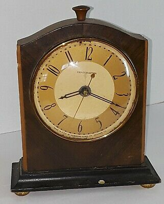 Vtg Chronmaster Electric Wood Mantle Clock No Cord for Parts or Repair