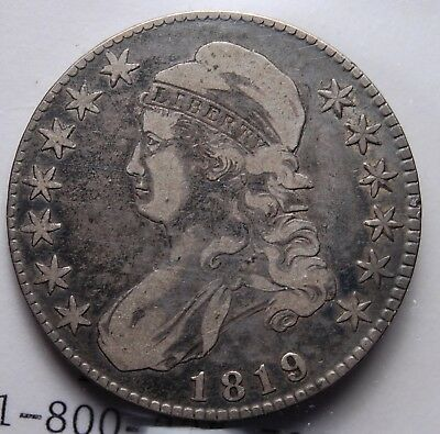 """1819 Capped Bust Half Dollar Very Choice Fine Nice Natural """"Circ Cam"""" Look"""