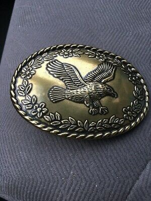 Vintage Solid Brass Eagle Astamar Belt Buckle.