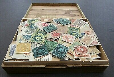 OLD CIGAR BOX FULL OF VINTAGE EMBOSSED ETC STAMPS - COUPLE OF 1000s