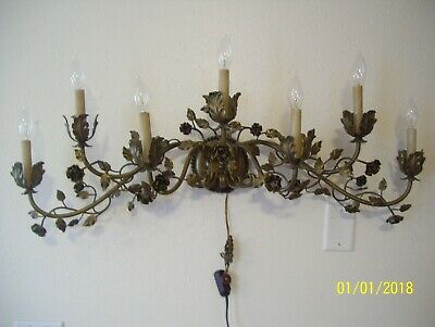 vintage mid century 7 light rose Italy Brass wall Sconce hollywood home deco
