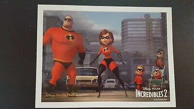 "*NEW!* Disney Pixar THE INCREDIBLES 2 - 2018 Movie Club Lithograph 5"" X 6.75"""