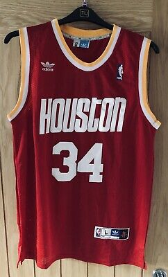 a27194e12 HAKEEM OLAJUWON 34 Houston Rockets Adidas Hardwood Classics Red ...