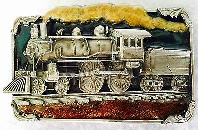1986 RAILROAD TRAIN Pewter with enamel Belt Buckle Vintage Siskiyou NEW