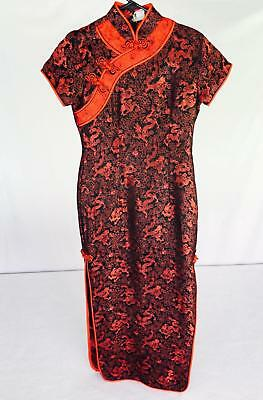 Gorgeous Women's Oriental Chinese Japanese Form Fitting Red Black Dress - Small