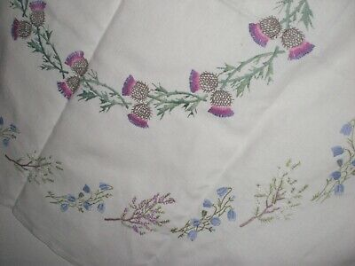 Vintage Embroidered Tablecloth , Scottish Thistles, Heather & Bluebells
