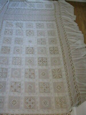 ANTIQUE FILET LACE BOBBIN LACE  HAND MADE COVERLET  1900s.