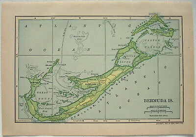 Original 1910 Map of Bermuda by Dodd Mead & Company. Antique