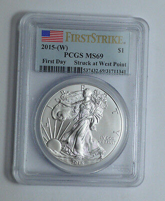 2015-(W) American Silver Eagle PCGS MS69,First Strike First Day,Coin,1Oz Bullion