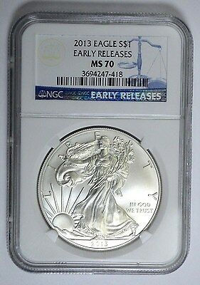 2013 NGC MS70 EARLY RELEASES American Silver Eagle Dollar, 1 OZ , UNC!!
