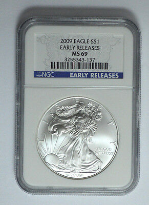 2009 NGC MS 69 EARLY RELEASES American Silver Eagle Dollar 1 Oz, Blue Label!