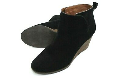 4d45473136d3 LUCKY BRAND YONIANA Suede Wedge Bootie Brown Women Sz 9M 3348 ...