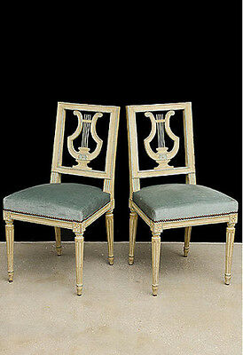 A Set Of Six Louis Xvi Style Painted Lyre Back Dining Chairs, Ca 1920'S
