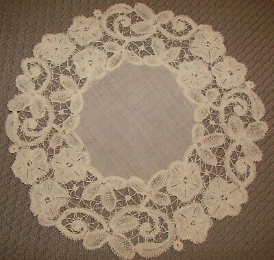 """Lovely Antique Linen and Handmade Lace Doily - White - 10 1/4"""""""