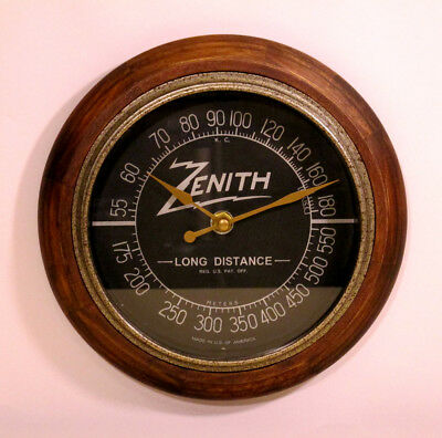 Old Antique Style Zenith Radio Themed Clock -Classic Black Dial Tube Radio Style