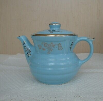 Drip-O-Later Tea Pot Teapot Blue With Gold Trim Enterprise Aluminum Co. Perfect