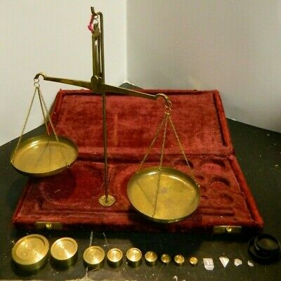 Antique Brass Travel Jewelers Scale w/ (13) Weights in Red Velvet Box Very Good