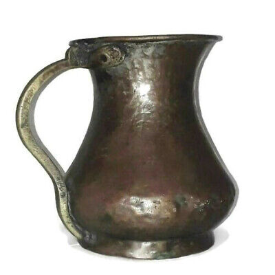 Old Red Copper Jar 1330 Rare Holy Land Ottoman industry precious masterpiece 17o